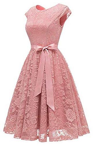 Yisha Bello Women's Short Lace Bridesmaid Dress 2018 Cocktail Party Dress, pink
