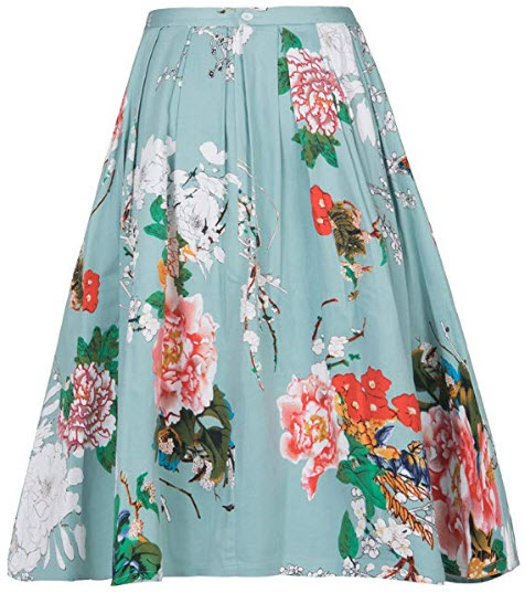 YISHIWEI Women Pleated Vintage Skirts Floral Print with Pockets, green