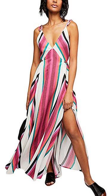 Yissang Women's Striped Chiffon Deep V-Neck Straps Split Maxi Long Dress with Pockets mult ...