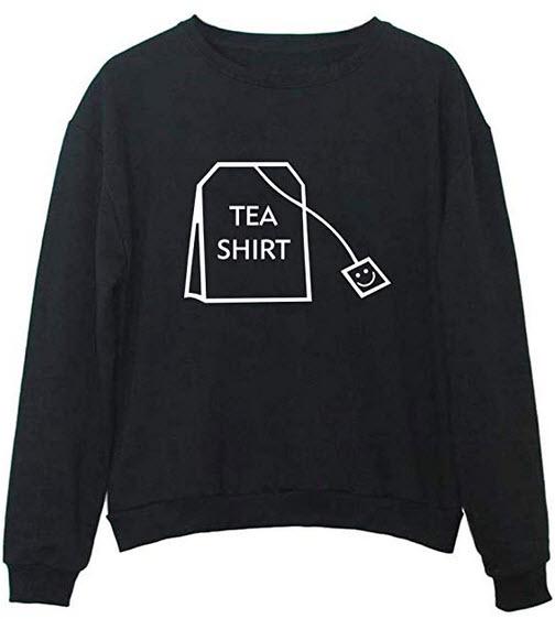 YITAN Tea Shirt Women Sweatshirt Teen Girl Pullover black