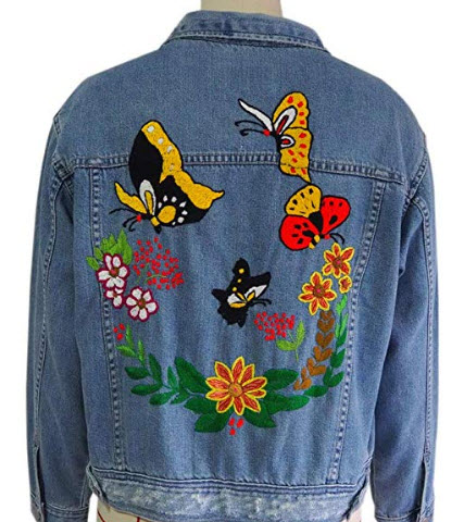 YJ Hand Embroidery Jean Jacket – Womens Cotton Hand Embroidered Jean Jacket Casual Blue Denim