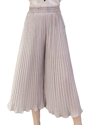 YONGM Women Chiffon Foldback Stylish High wast Palazzo Pants