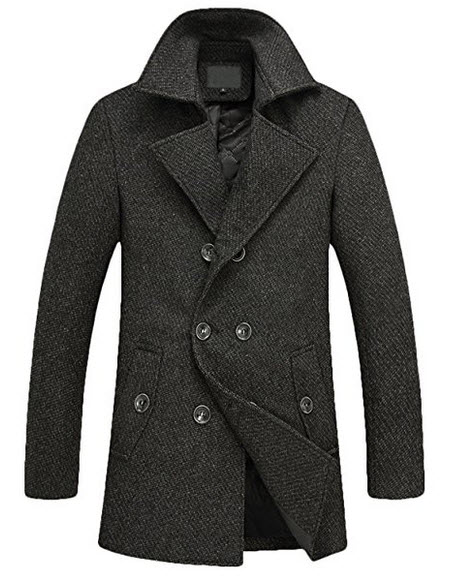 Youhan Men's Fitted Overcoat Cashmere Pea Coat.
