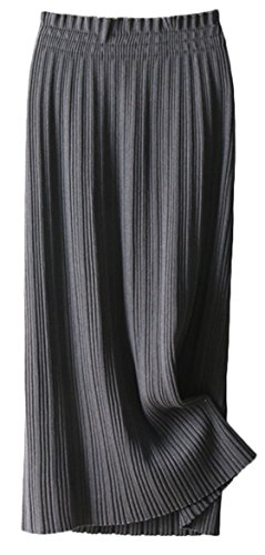 Youhan Women's Winter Elastic Pleated Cable Knit Long Skirt