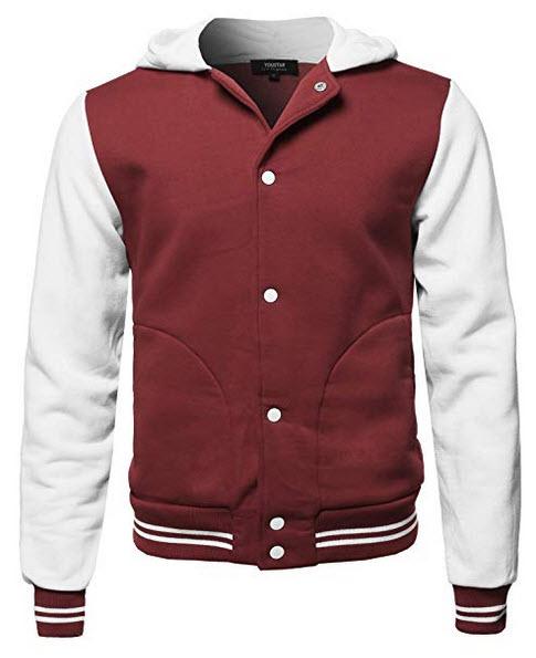 Youstar Men's Fleece Baseball Hoodie Long Sleeves Button Close Varsity Jacket burgundy white