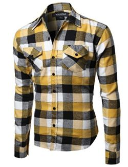 Youstar Men's Long Sleeve Button Down Chest Pocket Checkered Plaid Flannel Shirt