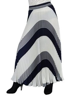 YSJ Womens Long Maxi Skirt – 35.4″ Chiffon Stripe Dot Pleated Vintage Full Skirts
