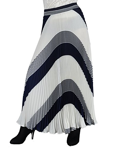 YSJ Womens Long Maxi Skirt – 35.4″ Chiffon Stripe Dot Pleated Vintage Full Skirts