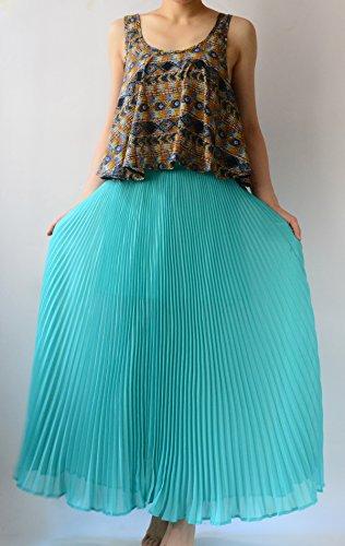 YSJ Women's Maxi Skirt – 35.4-Inch Chiffon Pleated Vintage Skirts