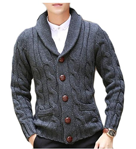 YUNY Men's Casual Slim Thick Knitted Shawl Collar Cardigan Sweaters Pockets