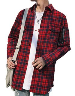 YUNY Mens Plaid Flannel Side Zipper Mid Length Long Sleeve Shirts Jacket