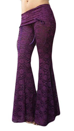 YUNY Womens Sexy Lace Skinny Slit Bell Bottom Flare Palazzo Pants Trousers