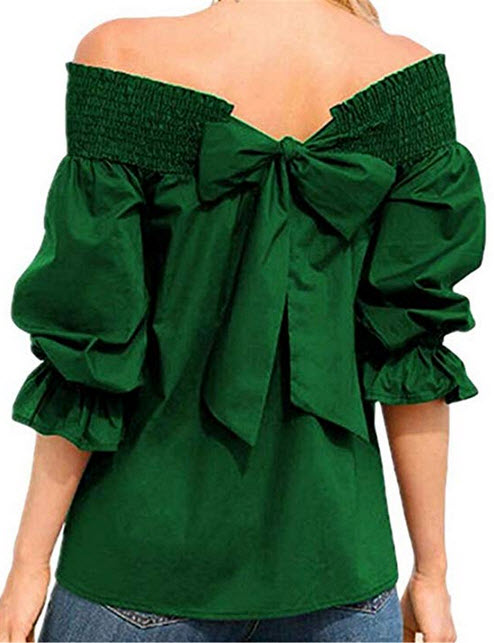 YYear Women's Fashion Tunic 3/4 Sleeve Shoulder Off Bow Tie Blouse Shirt Tops green