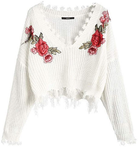 ZAFUL Women's Frayed V Neck Floral Embroidered Pullover Sweater Loose Long Sleeve Knitted  ...