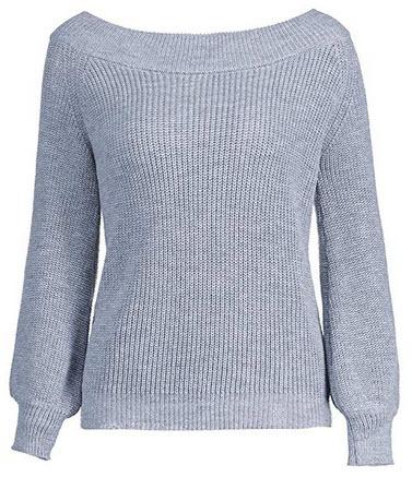 ZAFUL Women's Knit Sweater Lantern Sleeve Casual Batwing Sleeve Off Shoulder Loose Pullove ...