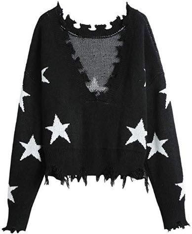 ZAFUL Women's Solid V Neck Loose Sweater Long Sleeve Ripped Jumper Pullover Knitted Crop T ...