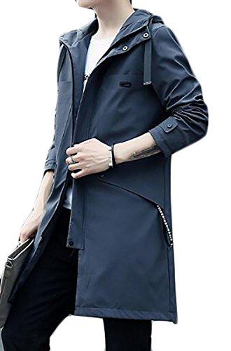 Zago Mens Zip Front Cotton Lightweight Hooded Jacket Trench Coats
