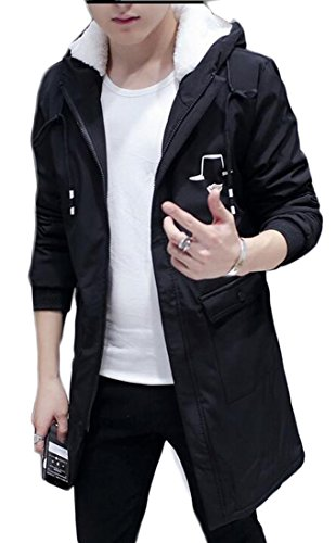 Zago Mens Zipper Lambswool Slim Long Jacket Hooded Overcoat Trench Coat