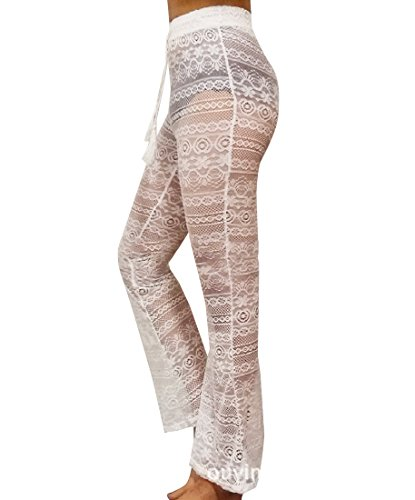 Zago Women's Solid-Colored Wid Lace Casual Long Palazzo Pants