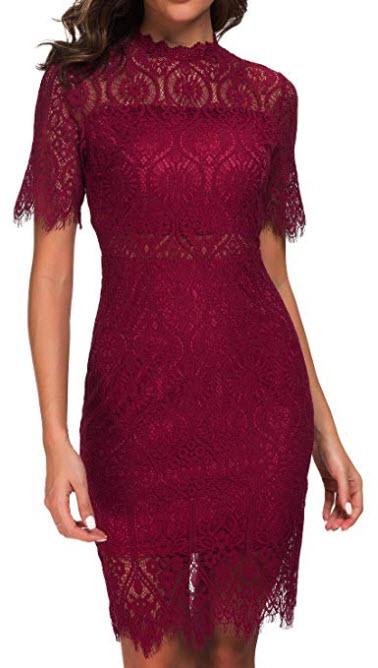 Zalalus Women's Elegant High Neck Short Sleeves Lace Cocktail Party Dress burgundy