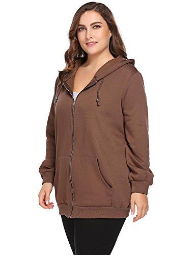 Zeagoo Plus Size Women Active Soft Full-Zip Fleece Hoodie Jacket With Pocket