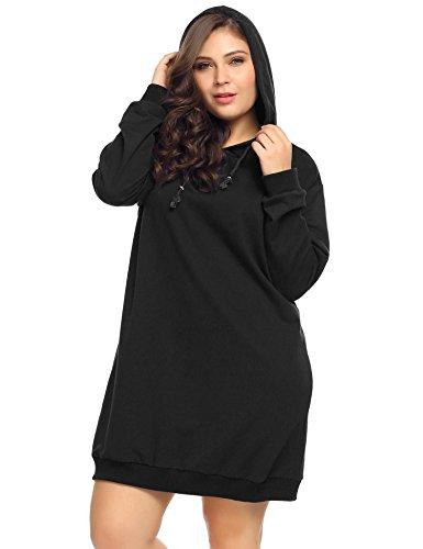 Zeagoo Women Lady Autumn Winter Plus Size Pullover Hoodie Sweatshirt Dress