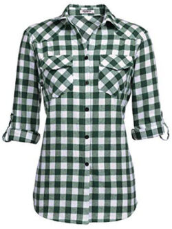 Zeagoo Womens Flannels Long/Roll Up Sleeve Plaid Shirts Cotton Check Gingham Top, grass green