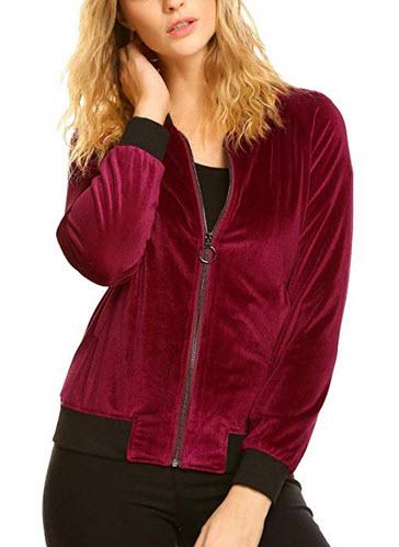 Zeagoo Womens Retro Chunky Cozy Soft Warm Coat Velvet Biker Quilted Bomber Jacket wine red