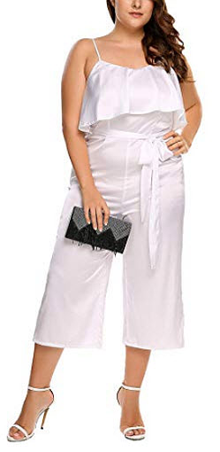 Zeagoo Women's Sexy Casual Plus Size Jumpsuits Sleeveless High Waist Ruffle Pant, white