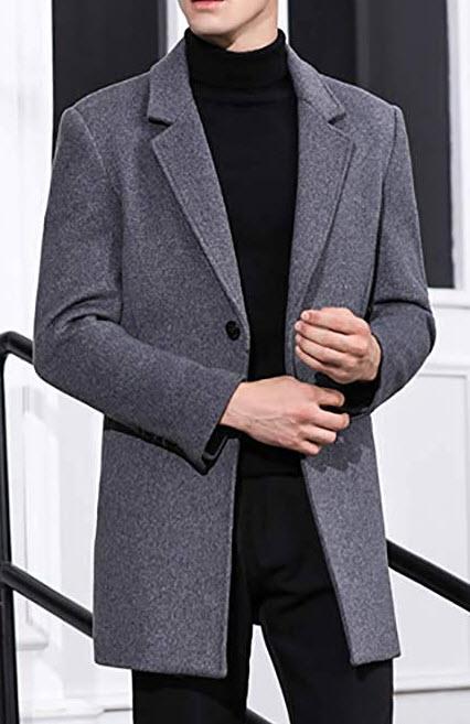 Zeetoo Men's Wool Peacoat Winter Long Trench Coat Top Coat grey
