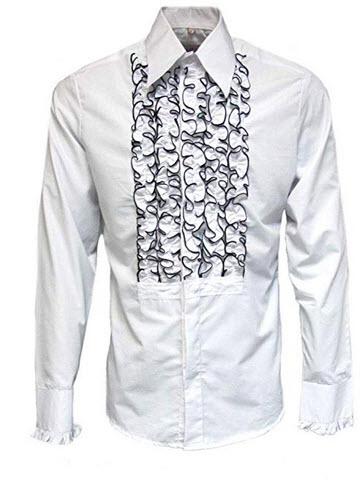 ZenRetro Mens Ruffle Ruche Frill Dinner Tuxedo Shirt white black