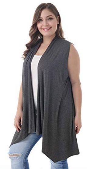 ZERDOCEAN Women's Plus Size Sleeveless Asymetric Hem Open Front Lightweight Soft Printed D ...