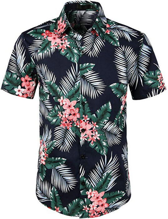 ZEROYAA Mens Hipster Casual Regular Fit Short Sleeve Button Down Hawaiian Shirts navy
