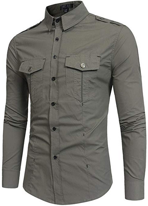 ZEROYAA Mens Tactical Epaulet Style Slim Fit Long Sleeve Casual Button Down Shirts with Pocket a ...