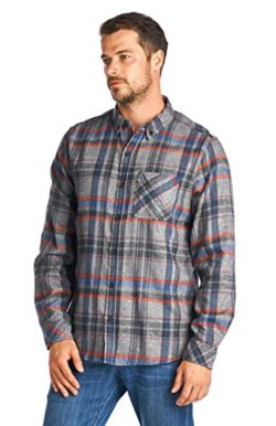 Zeta Wear Men's Button Down Cotton Brushed Flannel Plaid Shirt with Elbow Patch