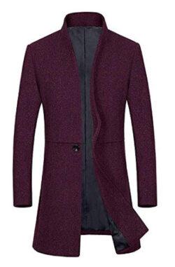 ZEVVDIP Men's French Woolen Coat Business Down Jacket Trench Top Coat Winter Business Wool Blaze ...