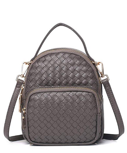 Zg Braided Vegan Leather Small Crossbody Purse For Women, Multi-Functional As Mini Backpack