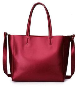Zg Women Genuine Leather Top Handle Satchel Daily Work Tote Shoulder Bag Large Capacity
