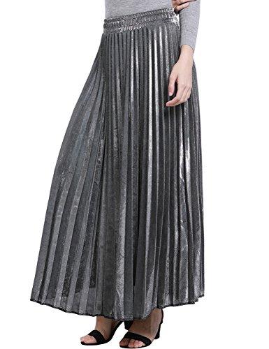 Z&I Women's Elastic Waist Retro Luster Elegant Pleated A Line Maxi Skirt