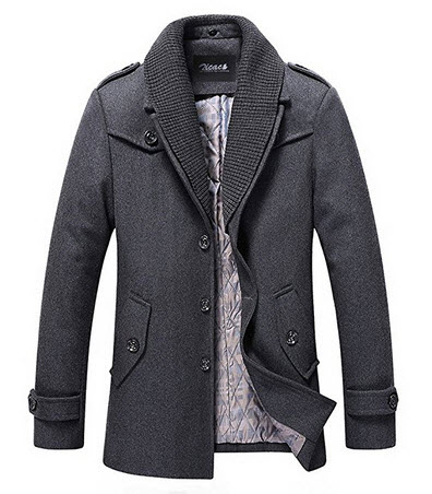 Zicac Men's Casual Wool Pea Coat Winter Overcoat Outerwear With Detachable Collar .