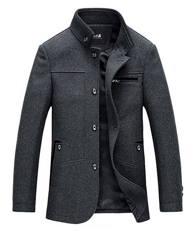 Zicac Men's Stand Collar Plain Slim Button Front Business Wool Coat Jacket.