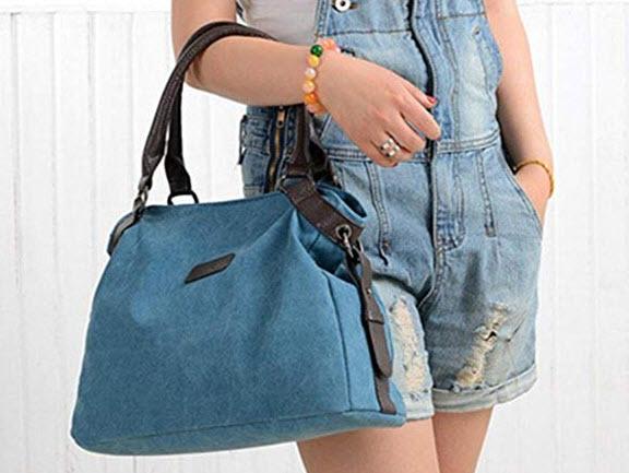 ZIIPOR Women's Canvas Handbags Totes Crossbody Shoulder Bag blue