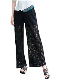 Zimaes-Women Plus Size Lace Casual Waistband Stretchy Palazzo Pants