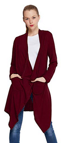 ZITY Women Solid Lightweight Open Front Waterfall Draped Trench Coat Cardigan wine
