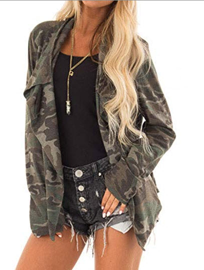 ZJP Women Open Front Asymmetric Hem Camouflage Outerwear Cardigan with Pockets