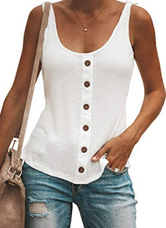 ZKESS Womens Button Down U Neck Sleeveless Cami Tank Tops Casual Shirts Blouse, white