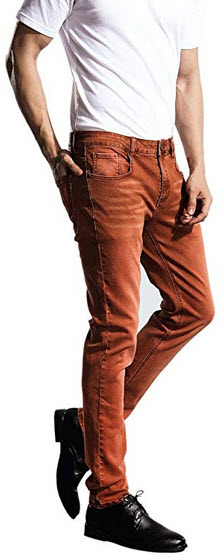 ZLZ Slim Fit Jeans, Men's Younger-Looking Fashionable Colorful Super Comfy Stretch Skinny  ...