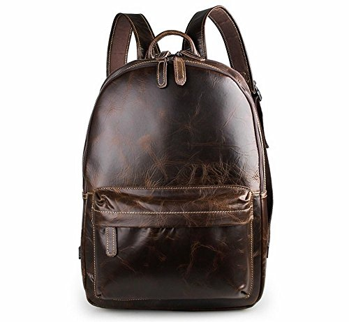 ZM Full Grain Leather Backpack, Briefcase Vintage Real Leather
