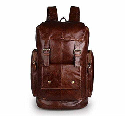 ZM Full Grain Leather Backpack, Briefcase Vintage Real Leather Travel Backpack