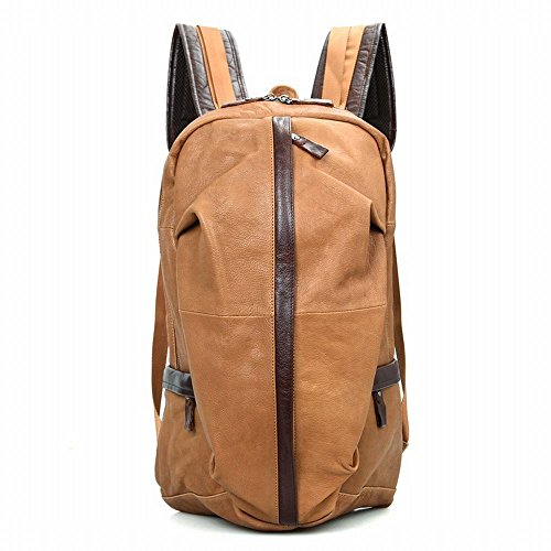 ZM Full Grain Leather Backpack, Briefcase Vintage Real Leather Travel Backpack